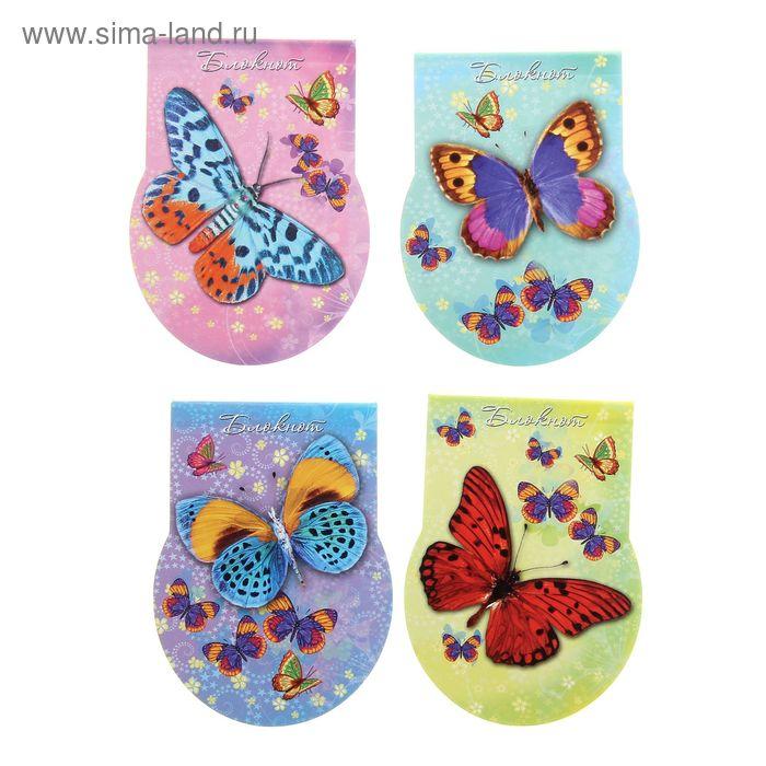 """Блокнот А7, с вырубкой 48 листов на клею """"Чудесные бабочки"""" без линовки, 4 вида МИКС"""
