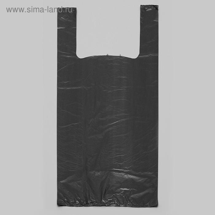 """Пакет """"Черный"""", полиэтиленовый, майка, 50х28 см, 12 мкм"""