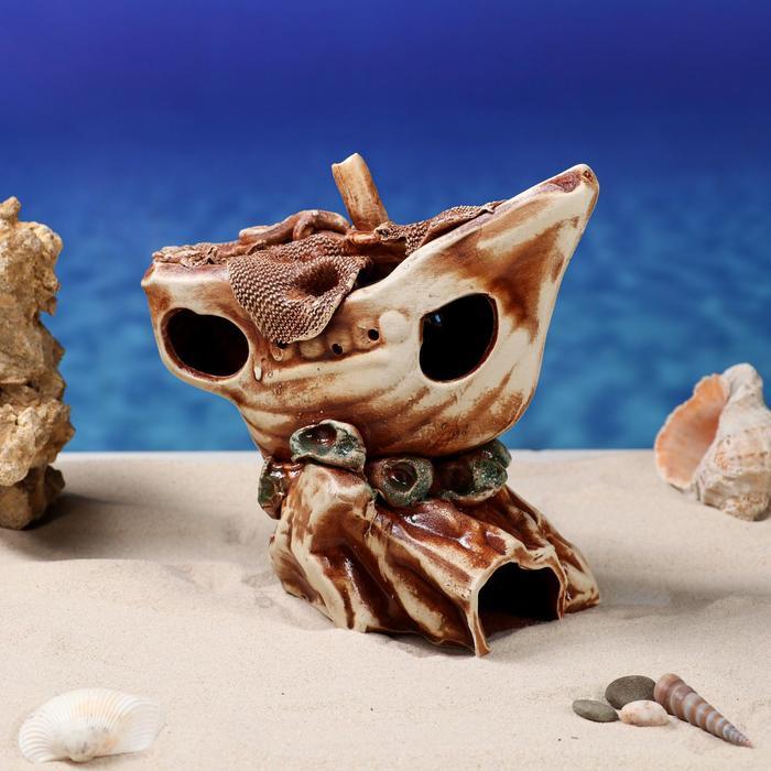 """Декорации для аквариума """"Лодка на скале"""""""