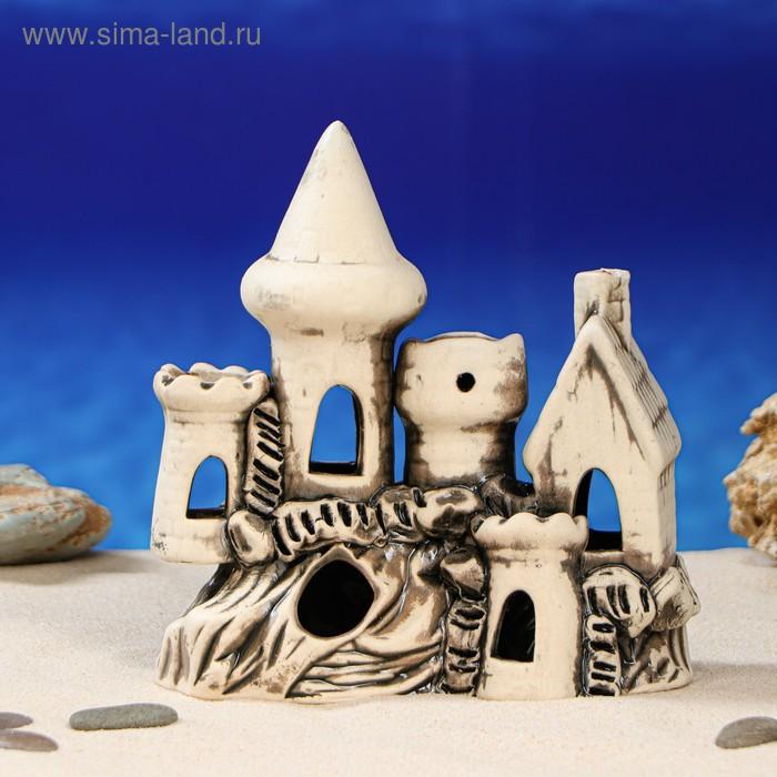 """Декорации для аквариума """"Замок и домик с трубой"""" малый, микс"""