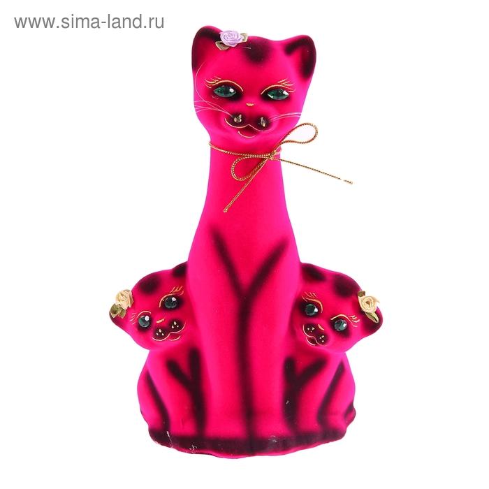 """Копилка """"Кошка с котятами"""" флок, малиновая"""