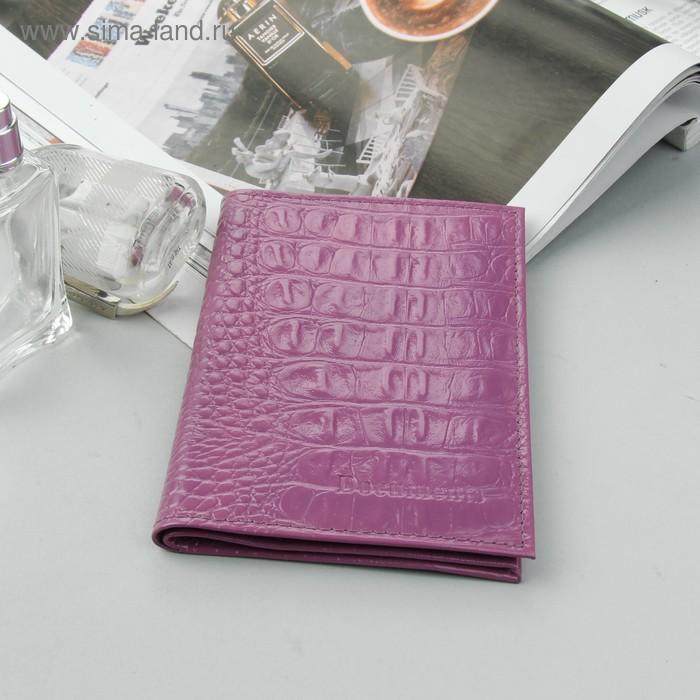 Обложка для автодокументов и паспорта, сиреневый кайман