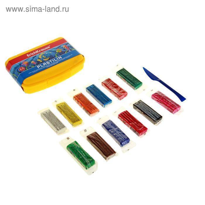 Пластилин 12 цветов 216гр со стеком, в пластиковом боксе, EK 38175