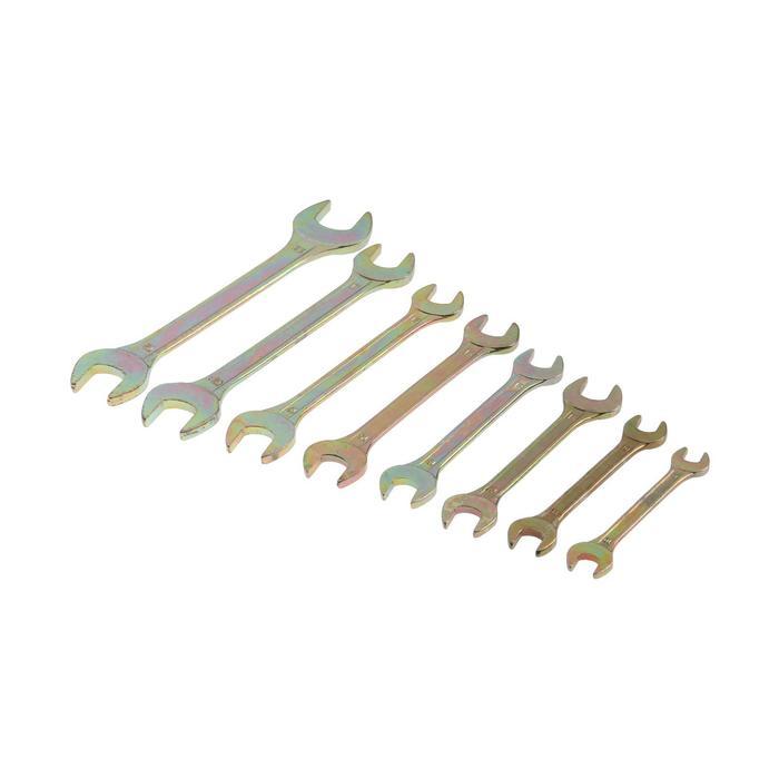 Набор ключей рожковых TUNDRA basic, холдер, желтый цинк, 8 шт, 8-22 мм