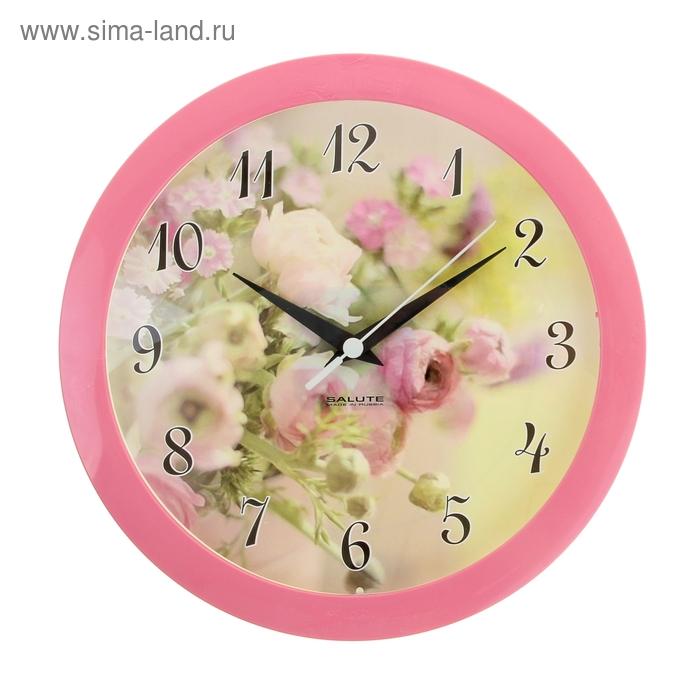 "Часы настенные круглые ""Утро"", розовый обод, 28х28 см"