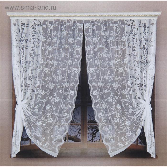 Шторы без шторной ленты, ширина 165 см, высота 180 см-2 шт., цвет белый