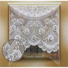 Штора с ламбрикеном без шторной ленты, ширина 170 см, высота 220 см, цвет белый