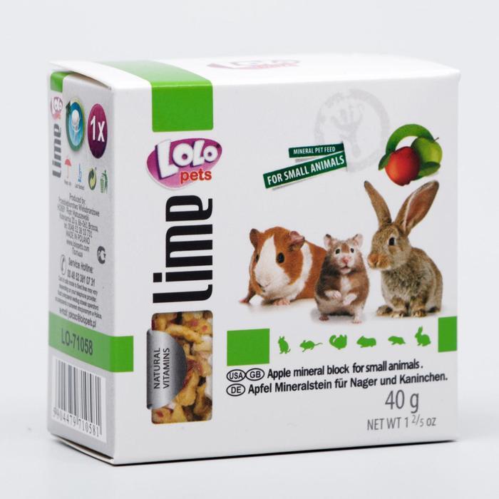 Минеральный камень для грызунов и кроликов LoLo Pets с яблоком 40 гр