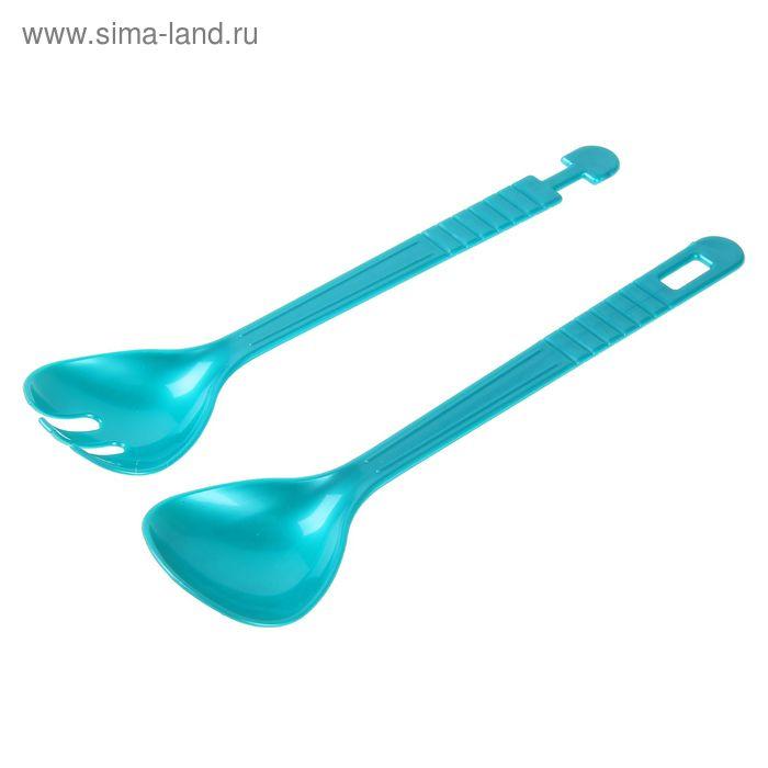 """Соединяющиеся вилка и ложка для салата """"Сервировочная пара"""", цвет МИКС"""