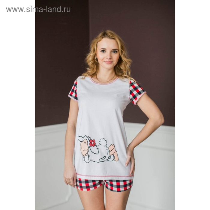 Комплект женский (туника, шорты) Овечка МИКС, р-р 48