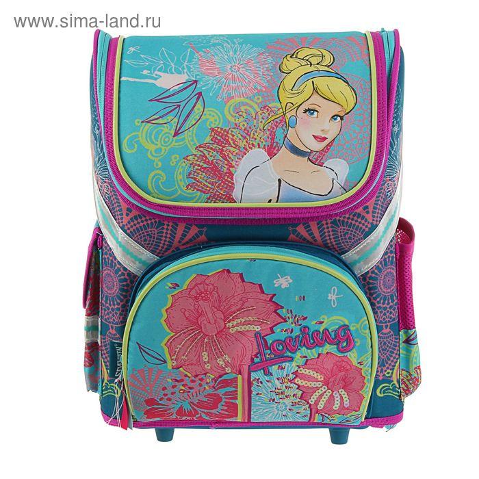 Ранец стандарт раскладной Disney Принцесса 36*26*17 EVA-спинкой, для девочки, бирюза
