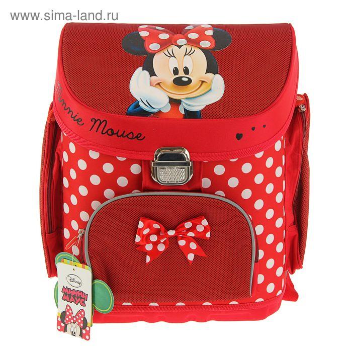 """Ранец на замке Disney """"Минни"""" 36*31*21 для девочки, эргономичная спинка"""