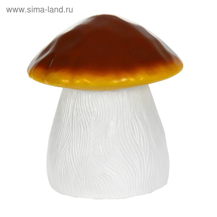 """Садовая фигура """"Гриб"""" средняя, коричнево-жёлтая шляпка"""