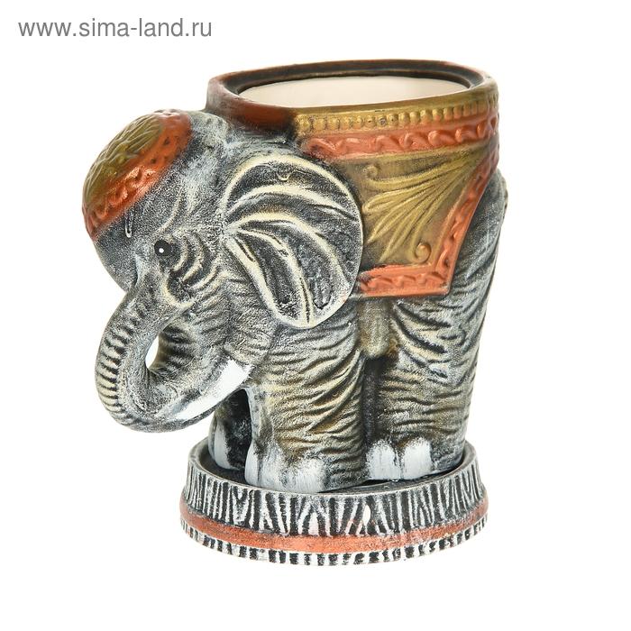 """Фигурное кашпо ''Слон"""" рисунок, акрил, 3 л"""