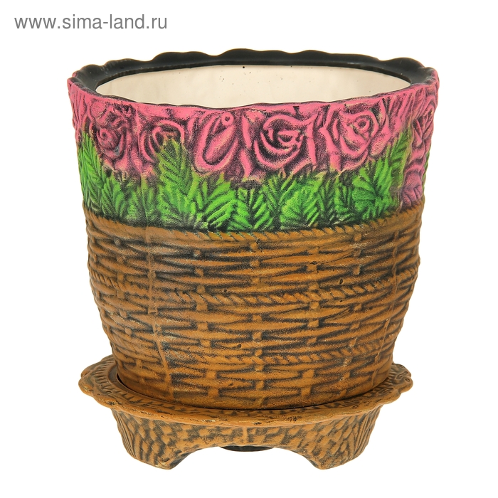 """Кашпо ''Розы в корзине"""" рисунок, красные, акрил, 15 л"""
