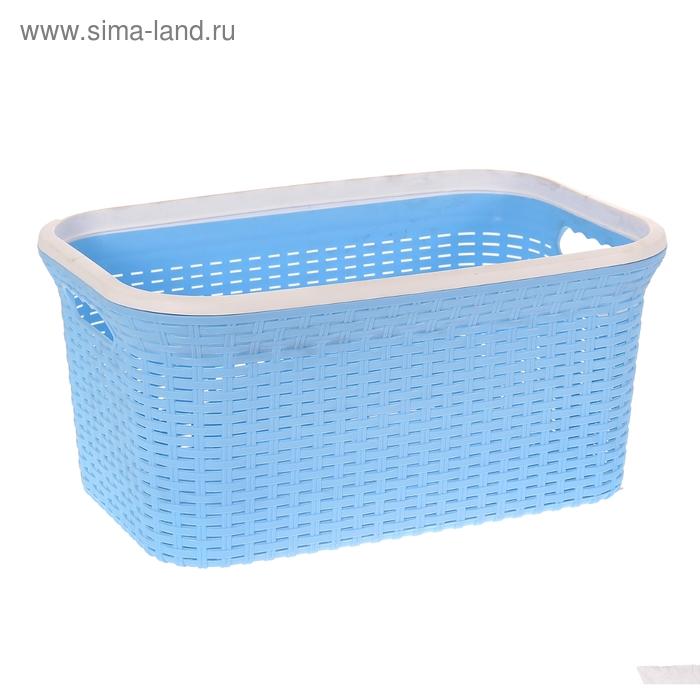 """Корзина для глаженного белья прямоугольная 38 л """"Ротанг"""" голубой"""