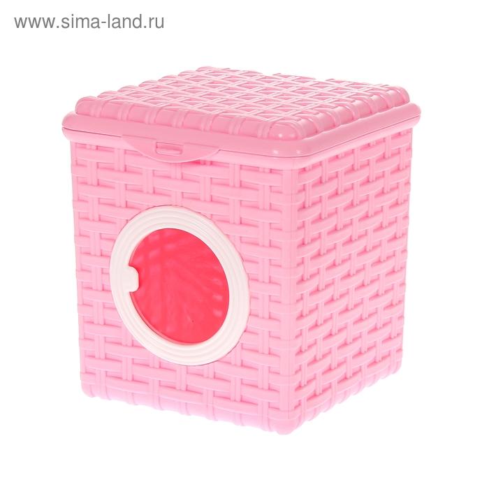 """Контейнер для мелочей 3 л """"Ротанг"""", с крышкой, цвет розовый"""