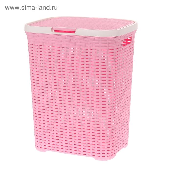 """Корзина для белья 40 л с крышкой """"Ротанг"""", цвет розовый"""