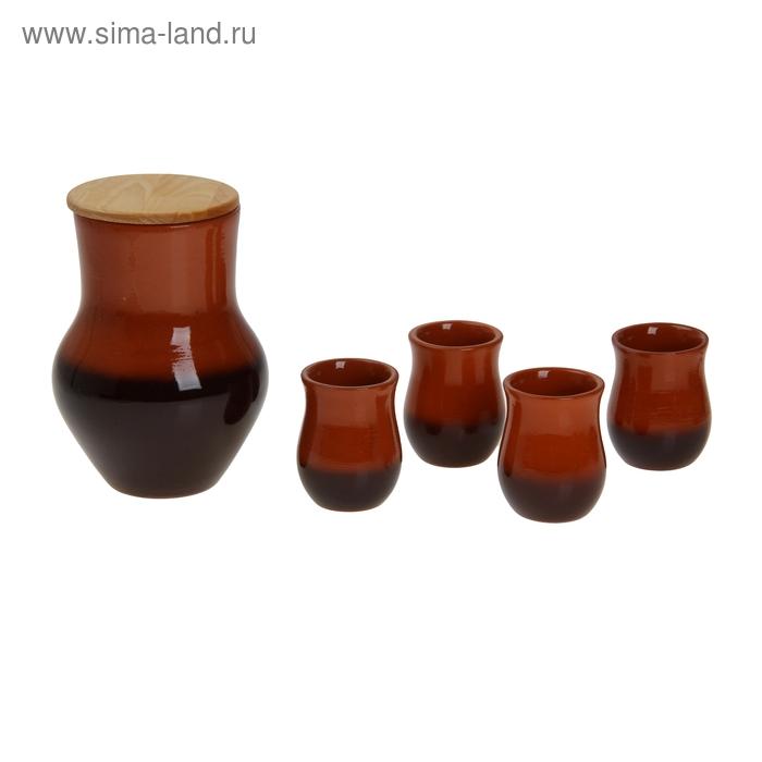 Набор питьевой 5 предметов: 1 крынка, 4 стакана 1,5 л/ 0,15 л