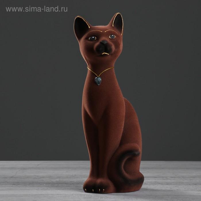 """Копилка """"Кот Кузя"""" малая, флок, коричневая"""
