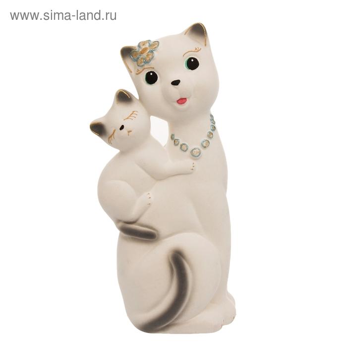 """Копилка """"Кошка Сьюзи с котёнком"""" флок, белая"""