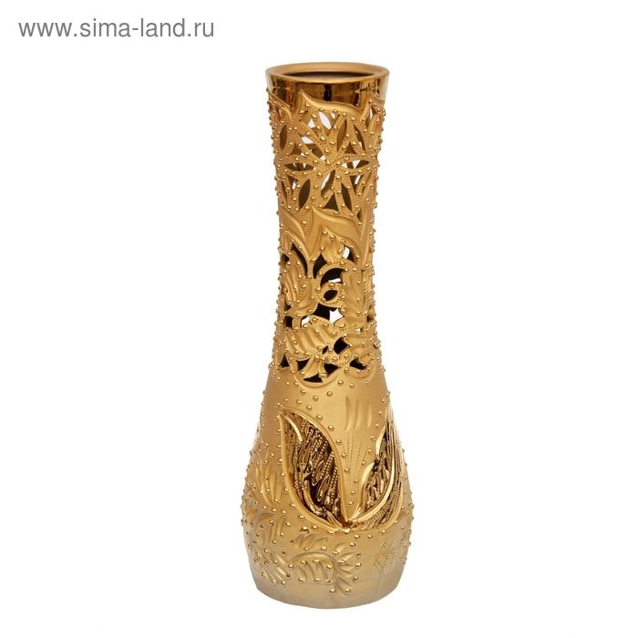 """Ваза """"София"""" большая, резная, золото"""