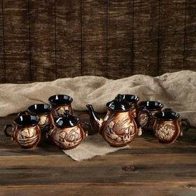 """Чайный набор """"Арго"""" 8 предметов: чайник 1,5 л, сахарница 0,7 л, кружки 0,45 л"""