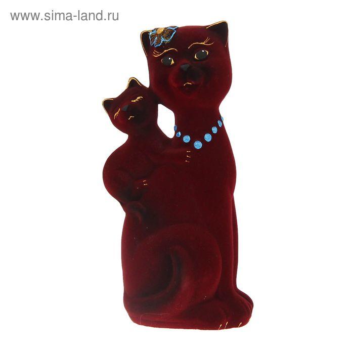 "Копилка ""Кошка Сьюзи с котёнком"" флок"