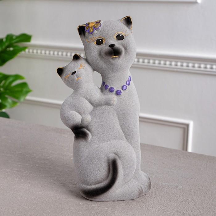 """Копилка """"Кошка Сьюзи с котёнком"""" малая, флок, серая"""