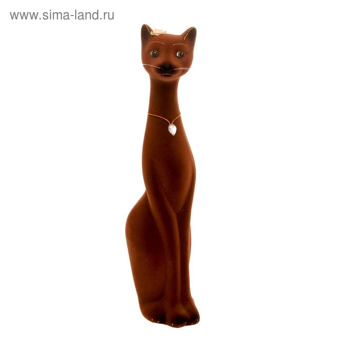 "Копилка ""Кошка Мурка"" большая, флок, коричневая"
