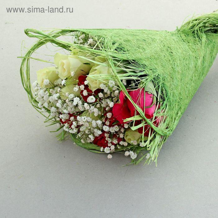 Салфетка Веер мини, лён, зелёный