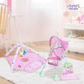 """Игровой набор с коляской и аксессуарами для пупса """"Кукольный дом"""", 5 в 1"""