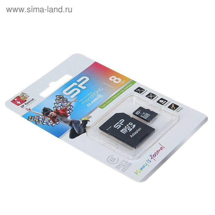 Флеш карта microSDHC Silicon Power 8GB, class 6 + адаптерr