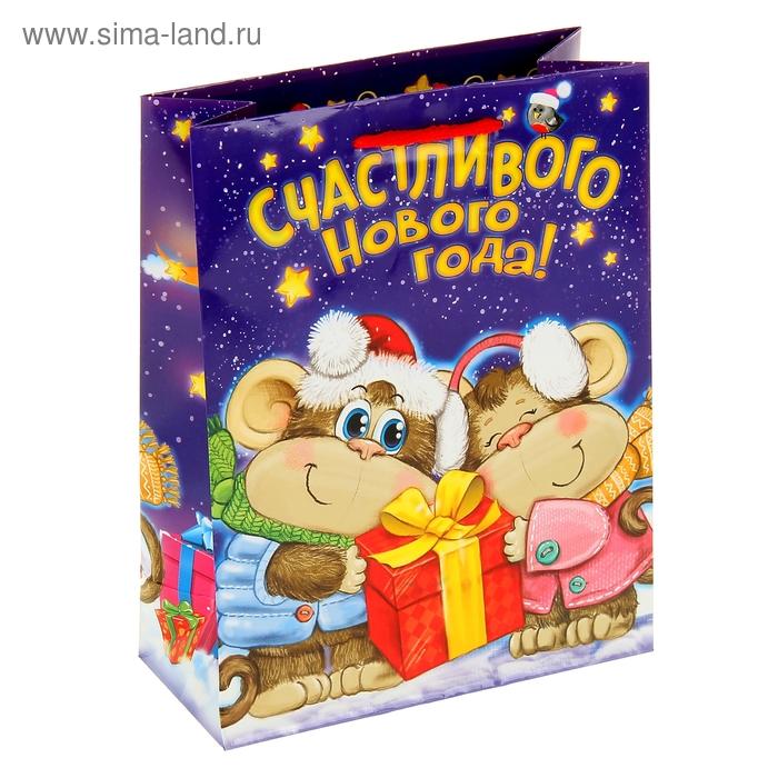 """Пакет ламинат вертикальный """"Счастливого Нового года"""", 23 х27 см, 160 г/м2"""
