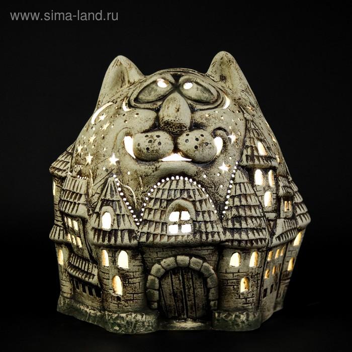 """Садовый светильник-кашпо """"Кот с рыбой"""" шамот, 10 л"""