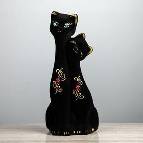 """Копилка """"Кошка и кот"""" большая, флок, чёрная"""