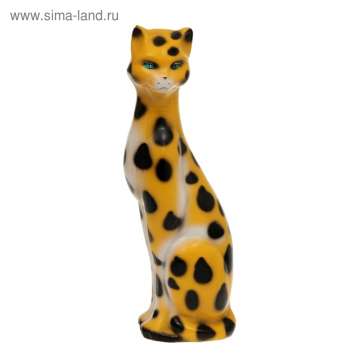 "Копилка ""Кошка Камилла"" большая, глянец, жёлтая, задувка леопард"