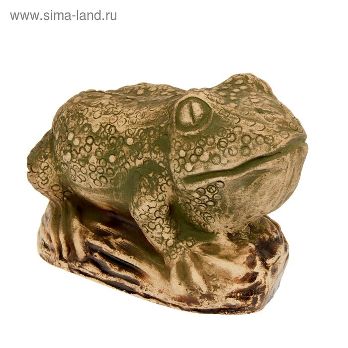 "Садовая фигура ""Жаба на камне"" шамот"