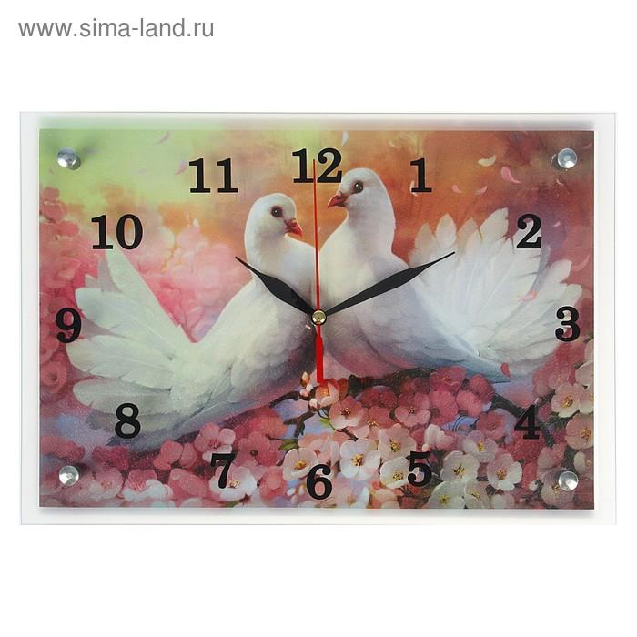 "Часы настенные прямоугольные ""Два голубя"", 25х35 см"