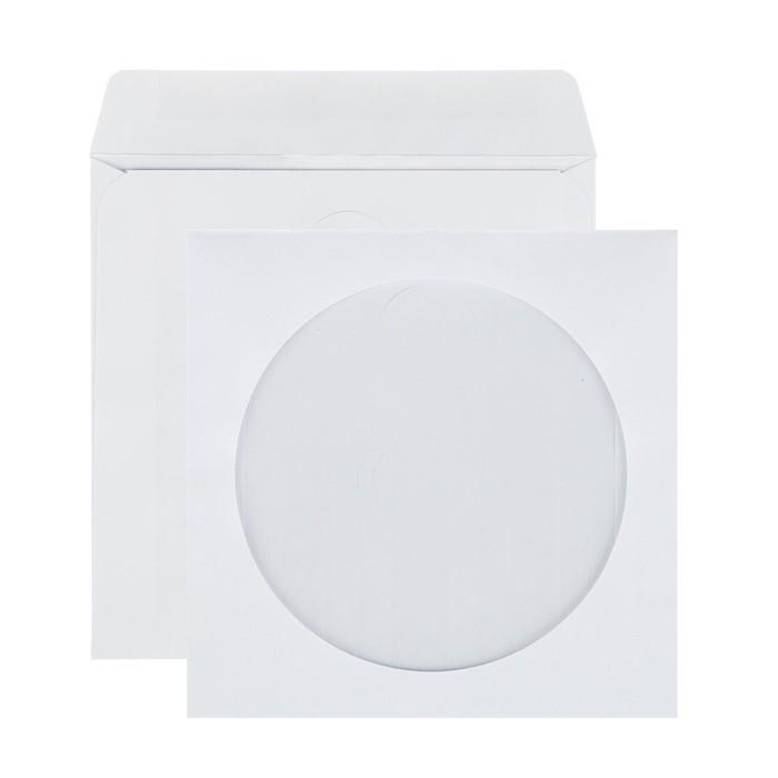 Конверт почтовый для CD/DVD 125х125мм чистый, окно д=100, клей, 80г/м, упаковка 1000шт
