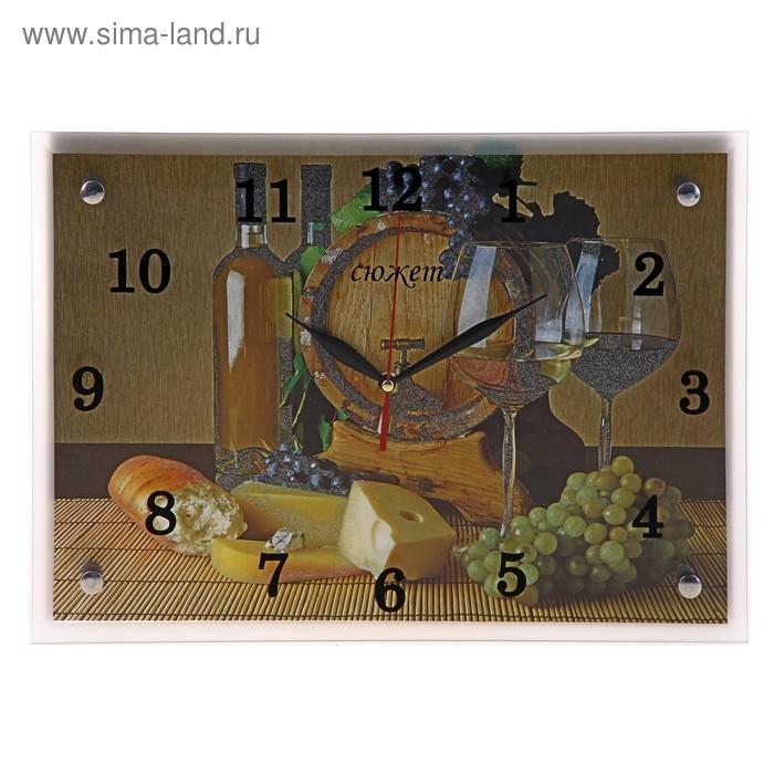 """Часы настенные прямоугольные """"Бочка с вином"""", 25х35 см"""