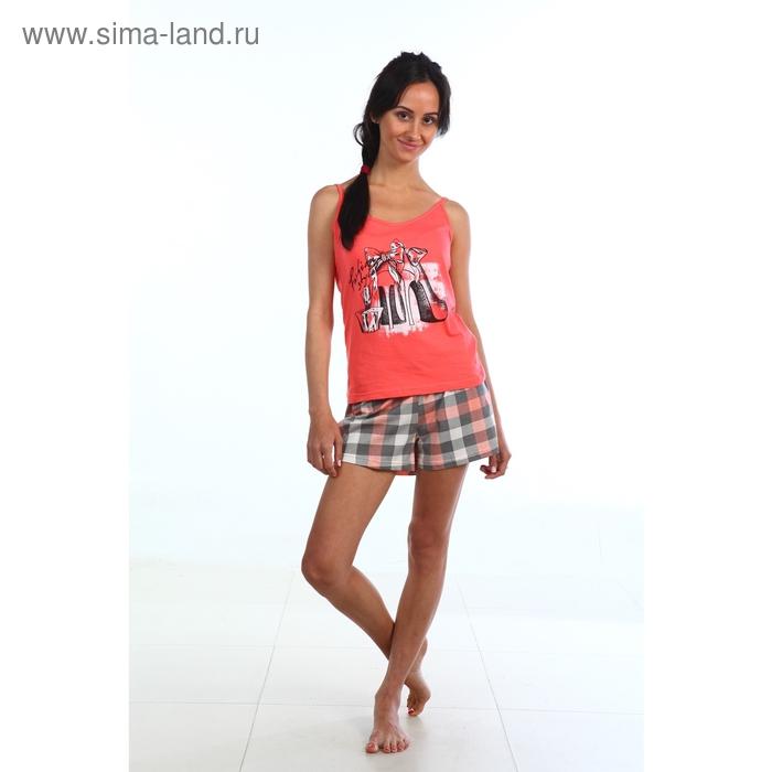Пижама женская (топ, шорты) Лиана коралл МИКС, р-р 48