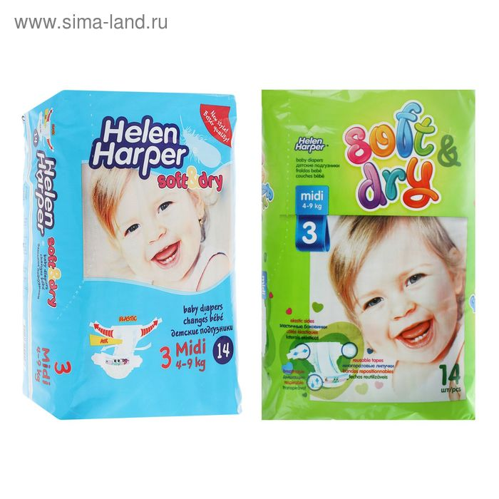 Подгузники Helen Harper Soft&Dry, Midi 3 (4-9 кг), 14 шт.