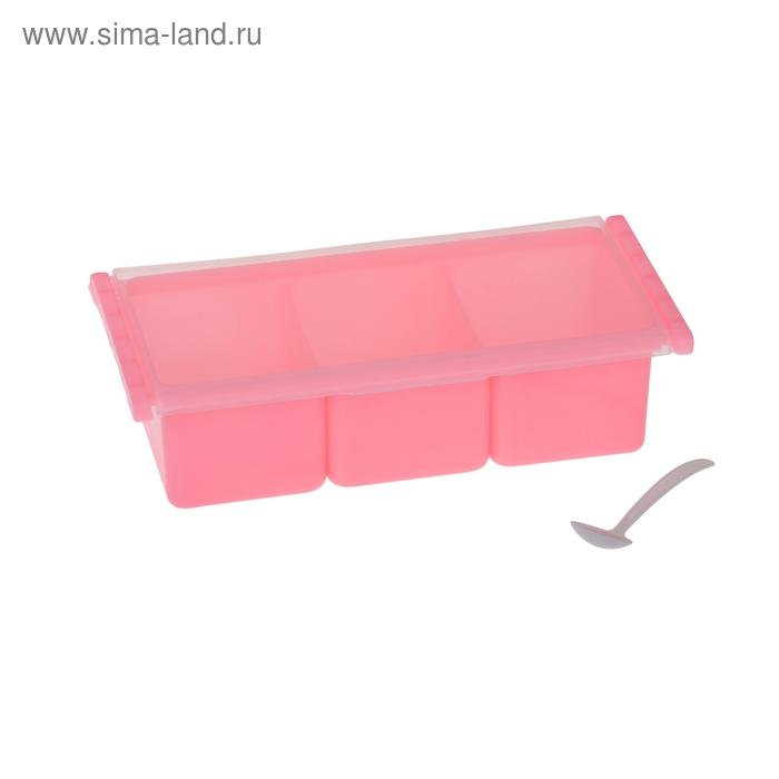 Банка для сыпучих продуктов 3 отделения, с ложками, цвет МИКС
