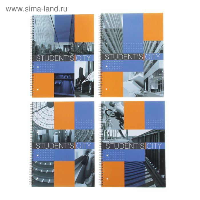 Тетрадь А4, 80 листов клетка на гребне Student's City, ламинат (матовый), 4 вида МИКС