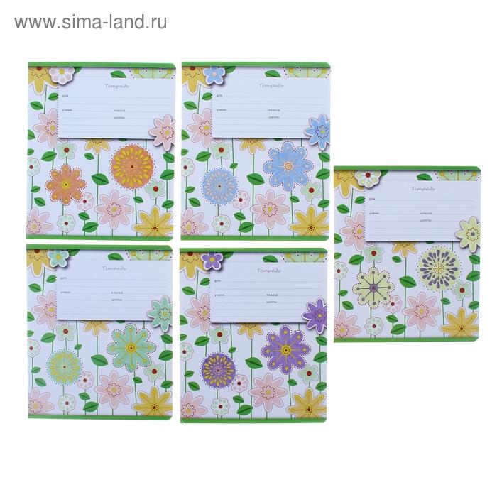 Тетрадь 12 листов клетка Fleur design, картонная обложка, МИКС, EK 37482