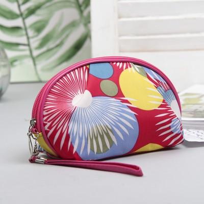 """Косметичка-сумочка """"Звездопад"""", с ручкой, 1 отдел, цвет малиновый"""