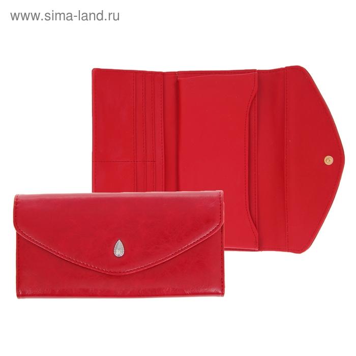 """Кошелёк женский """"Капелька"""", 3 отдела, отдел для кредиток, цвет бордовый"""