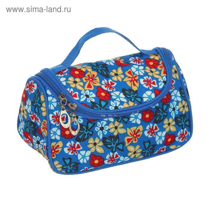 """Косметичка-сумочка """"Полянка"""", 1 отдел, ручка, с зеркалом, цвет синий"""