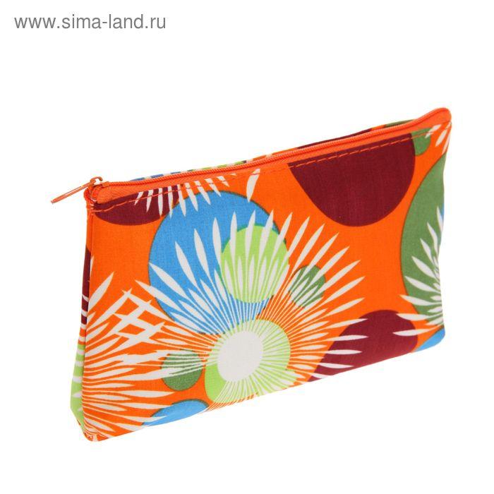 Косметичка простая, 1 отдел, цвет оранжевый
